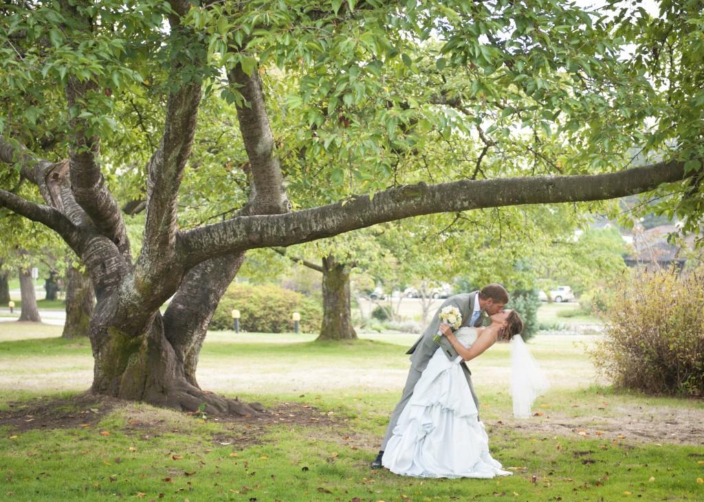 bride & groom under tree